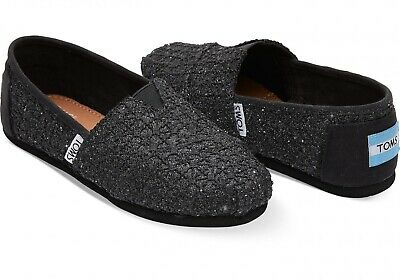 93e3053b502d NIB TOMS Classic Black Lace Glimmer Sparkly Shoes Youth Size Big Girl 4