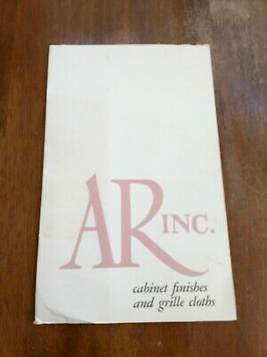 """Original AR Inc. """"cabinet finishes & grille cloths"""" Brochure w/ samples RARE!"""