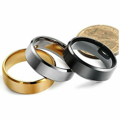 8MM Stainless Steel Men Women Wedding Engagement Black Gold Ring Band Size