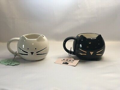 10 Strawberry Street Cat Face Coffee Tea Mug Cup Black & White NEW WITH DEFECTS