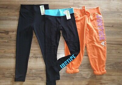 """NEW """"LOT OF 3"""" JUSTICE sweat pants capris and Leggings SIZE 10"""