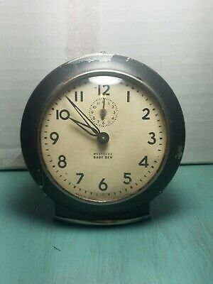 Vintage Metal Working Baby Ben Westclox Black Clock