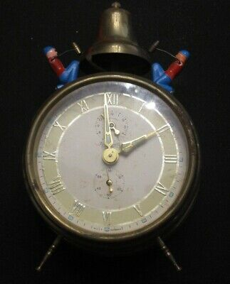 Antique Vintage Forestville Alarm Clock West Germany Hammer Clock