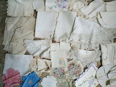 Vintage Linen & Embroidery. Job Lot of Napkins, Small Tablecloths, Dollies Etc