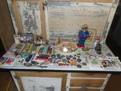 Junk Drawer Lot  Robot ,Jewelry Tokens Coins Rare's and much more,tins,watchs 😍