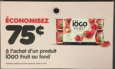 Lot of 20 x 0.75$ IOGO Fruit Products Coupons Canada