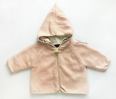 Burberry Baby Girl's Wool Knit Hoodie Hooded Cardigan - Pink - 3 Months (BC02)