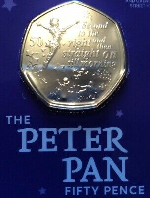 PETER PAN 50p NEW BRILLIANT UNCIRCULATED COIN CELEBRATES 90 YEARS