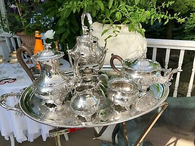 Antique English Silver-plate Coffee & Tea Set with 2-piece Water/tea Urn & Tray