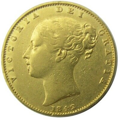 GREAT BRITAIN - Victoria Young Head Shield Back Gold Sovereign  Soverign 1842 VF