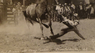 Rppc Postcard Crawfordsville IN  FAMOUS RODEO RIDER, PAUL BROWN  TOWN VIEW