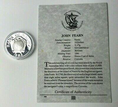 Dated : 1994 - Nauru - $10 - Silver Coin - Corvette of John Fearn - Cased & COA