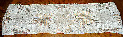 """Vintage Hand Made Hand Crochet Doily Table Scarf Runner Off-White 49 1/4"""" X 13.5"""