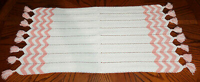 """Vintage Hand Made Hand Crochet Doily Table Scarf Runner Off-White Peach 34 1/2"""""""