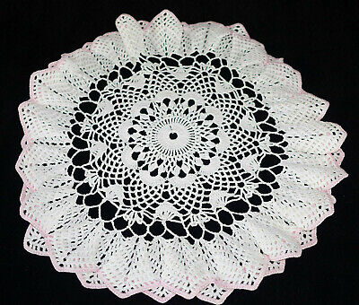 """Vintage Hand Made Hand Crochet Doily Table Scarf WHITE PINK Edges 15"""" Round"""