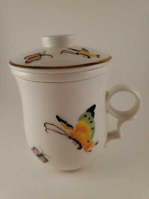 Teavana 3 Piece Tea Cup Mug Infuser Strainer with Lid Butterfly Pattern