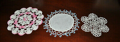 VTG Hand Made Hand Crochet Doily Table Scarf Pink White Blue Set of 3