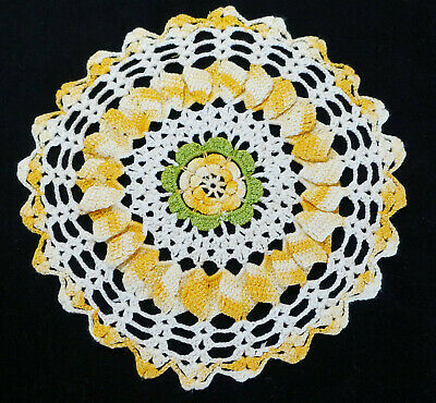 """VTG Hand Made Hand Crochet Doily Table Scarf Yellow Gold White Green 9"""" Round"""