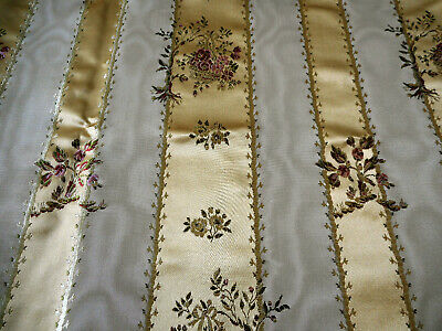 Vintage French Silk Satin Moire Lisere Brocade Floral Basket Fabric ~ Gold  Rose