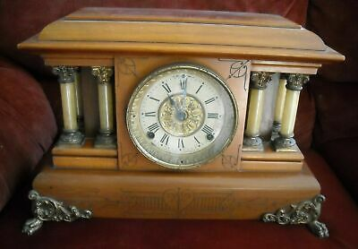 Antique 1901 Seth Thomas Mantle Clock Adamantine #102 W/ Pendulum & Key