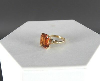 Vintage Solid 10K Gold Art Deco Cocktail Ring Jewelry Amber Paste Stone Womens 7