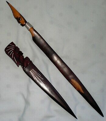2 African/ Hawaiian LETTER OPENERS~ Wooden Carved Figural