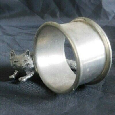 Pewter figural napkin ring of a dashing fox