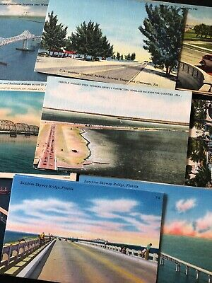 Vintage Florida Post Card lot of 30 Bridge Highway Causeway Roads