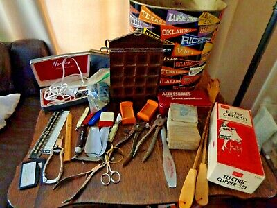 Junk Drawer Lot Vintage Trash Can Match Books Clippers Nail Care Thimble Display