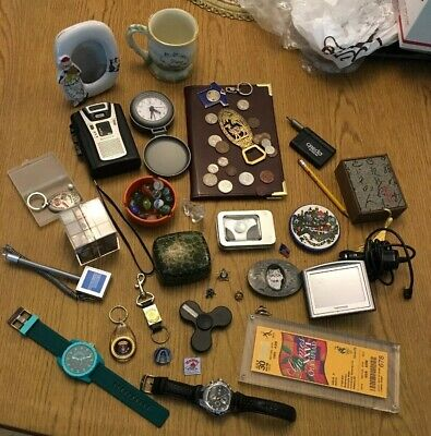 Junk Drawer Lot Vintage Watches Coins Sony Recorder Tomtom Pins Pen Marbles