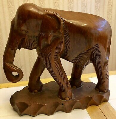"""Large Antique Carved Mahogany Elephant Statue Carved Asian Figure 15.5"""" 11 Lbs."""