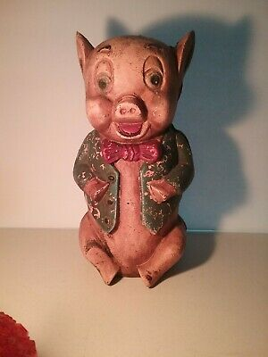 Vintage CAST IRON STILL BANK - Porky Pig - Blue Jacket - STRAIGHT SCREW - No Dmg