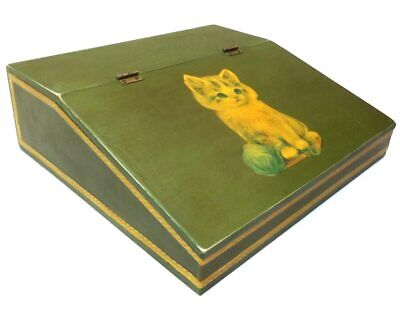 Vintage Homemade Wooden Writing Slope Box Desk with Decoupage Kitty Cats