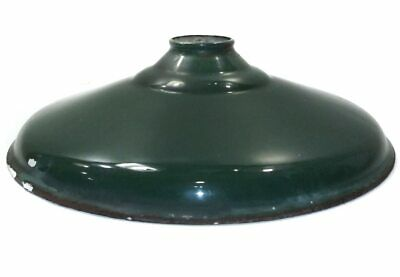 Vintage Shallow Green Porcelain Enamel Light Shade Gas Station Barn Globe