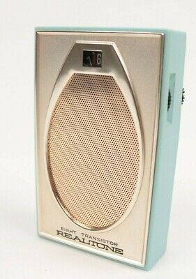 Vintage 60s Realtone Eight Transistor Radio TR-1843 Blue Made in Japan + Case