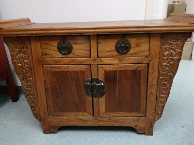 Antique Chinese Natural Elm Wood Altar Cabinet