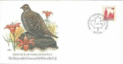 1978 Birds & Flowers of Canada Saskatchewan FDC with Fleetwood cachet
