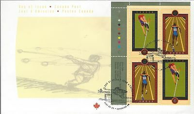 2001 #1907-8 IAAF World Championship UL PL BLK FDC with CP cachet