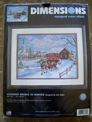 Dimensions COVERED BRIDGE IN WINTER Stamped Cross Stitch Kit #3215 NIP