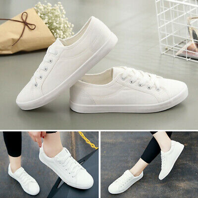 Women's Flat Canvas Shoes Casual Running Sneakers Loafers Fashion White Hot