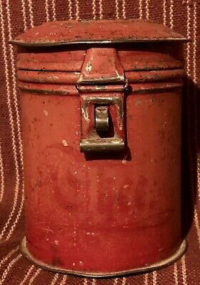 Antique Primitive Original Dark Red Paint Tin Hinged English Canister Can AAFA