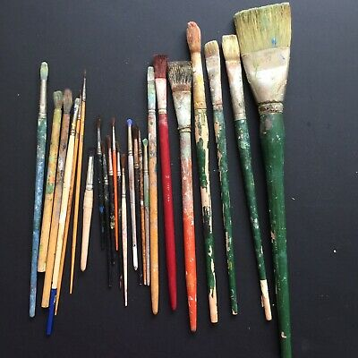 Lot Grumbacher Artists Oil Acrylic Water Color Painting Brushes Art Vintage USA