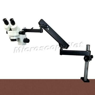 7X-45X Stereo Microscope+Articulating Arm Stand+Ring and dual heads Cold Light
