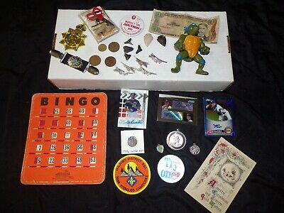 Vtg Junk Drawer Collectible Smalls Coin Pin Baseball Card Auto Toy BSA Box Lot 8