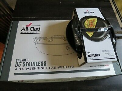 """All-Clad D5 Brushed SS 4 QT Weeknight Pan & Lid AND B1 nonstick 8"""" and 10"""" pans"""