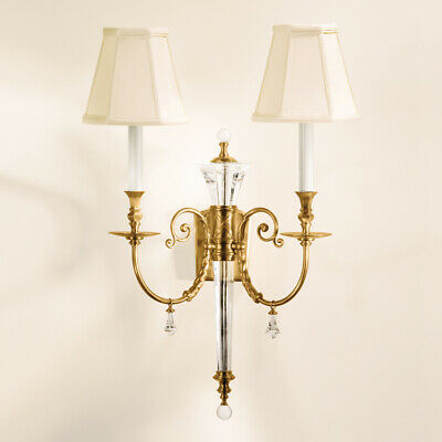 Antiqued Brass & Solid Crystal  2 Lights/Shades Electric Sconce,27''H