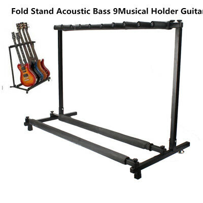 Musical Multi Guitar Stand 9 Holder Folding Organizer Rack Stage Bass Acoustic