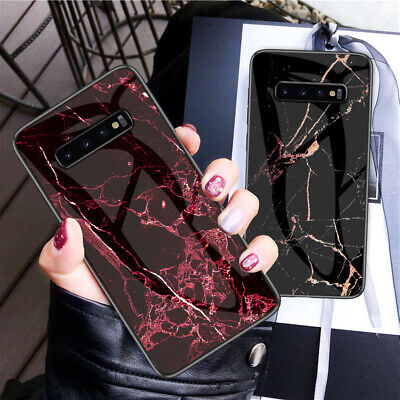 For Samsung Galaxy S10 5G S9 S8 S7 Marble Tempered Glass Hybrid Hard Case Cover