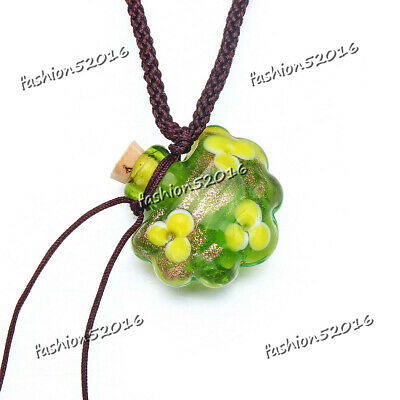 Murano Glass GREEN oil ashes urn bottle cork pendant vial Necklace Adjustable