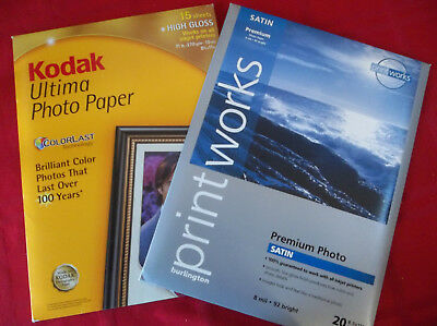 "LOT - 2 Packs - 34 Sheets Total~8.5""x11"" Premium Photo Paper~Kodak & PrintWorks"